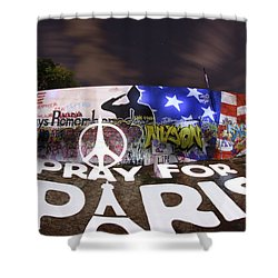Pray For Paris Shower Curtain by Andrew Nourse