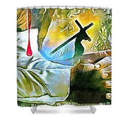 Prayer And The Blood Shower Curtain