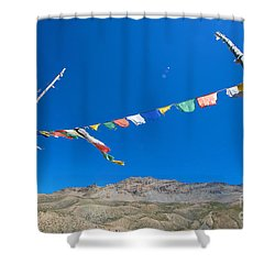 Shower Curtain featuring the photograph Prayer Flag by Yew Kwang