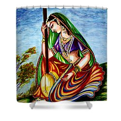 Krishna - Prayer Shower Curtain by Harsh Malik