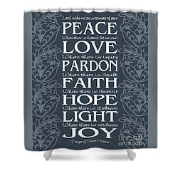 Prayer Of St Francis - Victorian Blue Grey Shower Curtain