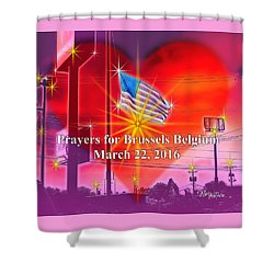 Prayers For Brussels #9726_4 Shower Curtain by Barbara Tristan