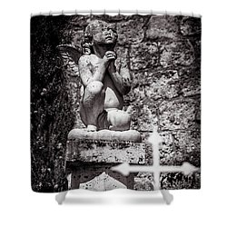 Praying Angel In Auvillar Cemetery Bw Shower Curtain by RicardMN Photography