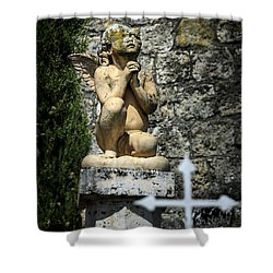 Praying Angel In Auvillar Cemetery Shower Curtain by RicardMN Photography