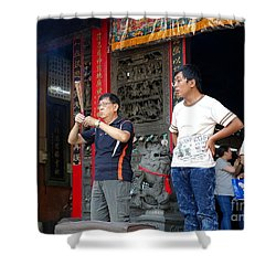 Shower Curtain featuring the photograph Praying At A Temple In Taiwan by Yali Shi
