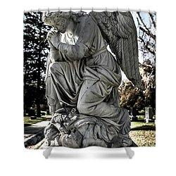 Praying Cemetery Angel  Shower Curtain by Gary Whitton