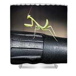 Praying Mantis On Stage On Microphone Shower Curtain
