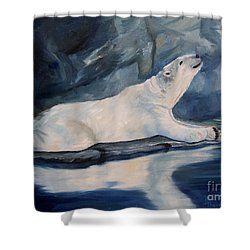 Shower Curtain featuring the painting Praying Polar Bear Original Oil Painting by Brenda Thour