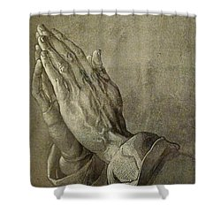 Praying Hands Shower Curtain by Troy Caperton