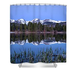 Pre Dawn Image Of The Continental Divide And A Sprague Lake Refl Shower Curtain