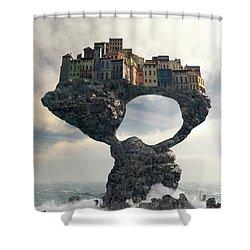 Precarious Shower Curtain