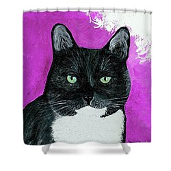 Shower Curtain featuring the painting Precious The Kitty by Ania M Milo