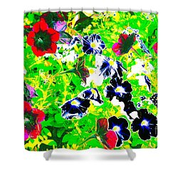 Shower Curtain featuring the photograph Precocious Pansies by Jesse Ciazza