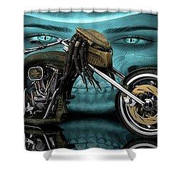Shower Curtain featuring the digital art Predator Chopper by Louis Ferreira