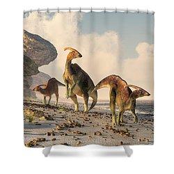 Prehistoric Beachcombers Shower Curtain by Daniel Eskridge