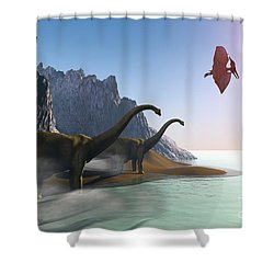 Prehistoric World Shower Curtain by Corey Ford