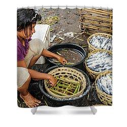 Preparing Pindang Tongkol Shower Curtain by Werner Padarin