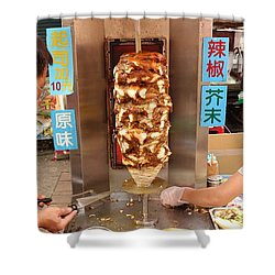Shower Curtain featuring the photograph Preparing Shawarma Meat In Bread Buns by Yali Shi