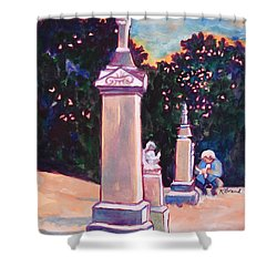 Present Meets Past Shower Curtain by Kathy Braud