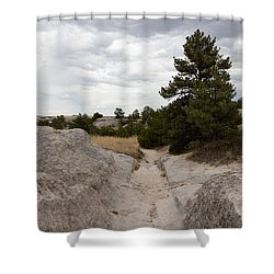 Preserved Wagon Ruts Of The Oregon Trail On The North Platte River Shower Curtain by Carol M Highsmith