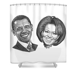 President And First Lady Obama Shower Curtain by Murphy Elliott