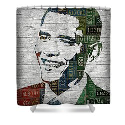 President Barack Obama Portrait United States License Plates Edition Two Shower Curtain by Design Turnpike