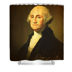 President George Washington Portrait And Signature Shower Curtain by Design Turnpike
