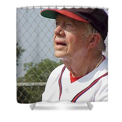 President Jimmy Carter - Atlanta Braves Jersey And Cap Shower Curtain