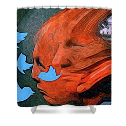 President Of Twitter Shower Curtain by Ted Azriel