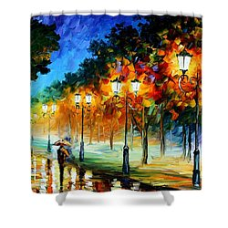 Prespective Of The Night Shower Curtain by Leonid Afremov
