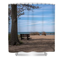 Presque Isle Beach Bench Lake Erie Pa Shower Curtain