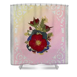 Pressed Flowers Arrangement With Red Roses Shower Curtain