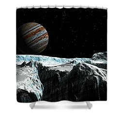 Pressure Ridge On Europa Shower Curtain by David Robinson