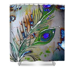 Shower Curtain featuring the painting Pretty As A Peacock by Denise Tomasura