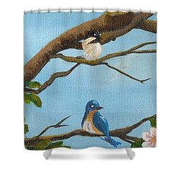 Pretty Birds Shower Curtain by Sheri Keith
