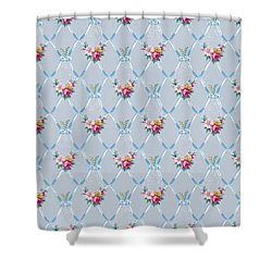 Pretty Blue Ribbons Rose Floral Vintage Wallpaper Shower Curtain by Tracie Kaska