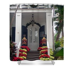 Pretty Christmas Decoration In Key West Shower Curtain by Susanne Van Hulst