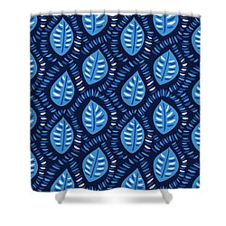 Pretty Decorative Blue Leaves Pattern Shower Curtain