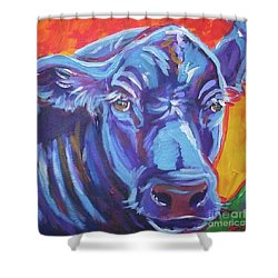 Shower Curtain featuring the painting Pretty Face Cow by Jenn Cunningham