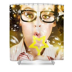 Shower Curtain featuring the photograph Pretty Geek Girl At Birthday Party Celebration by Jorgo Photography - Wall Art Gallery