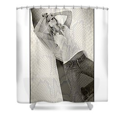 Shower Curtain featuring the photograph Pretty Girl On Her Knees by Michael Edwards