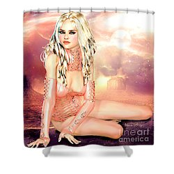 Pretty In Peach Galaxies Shower Curtain