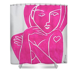 Pretty In Pink Tattoo Girl Poster Print  Shower Curtain