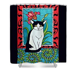 Shower Curtain featuring the painting Pretty Me In Tuxedo by Dora Hathazi Mendes