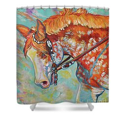 Shower Curtain featuring the painting Pretty Paint by Jenn Cunningham