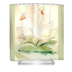 Shower Curtain featuring the painting Pretty Pekins by Denise Tomasura