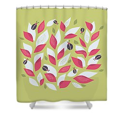 Pretty Plant With White Pink Leaves And Ladybugs Shower Curtain