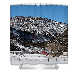 Pretty Red Barns From The Highway Between Aspen And Snowmass Shower Curtain