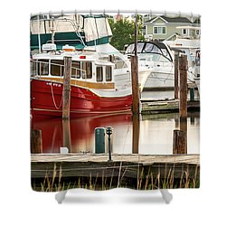 Pretty Red Boat Shower Curtain