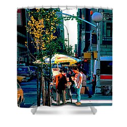 Hot Dog Stand Nyc Late Afternoon Ik Shower Curtain